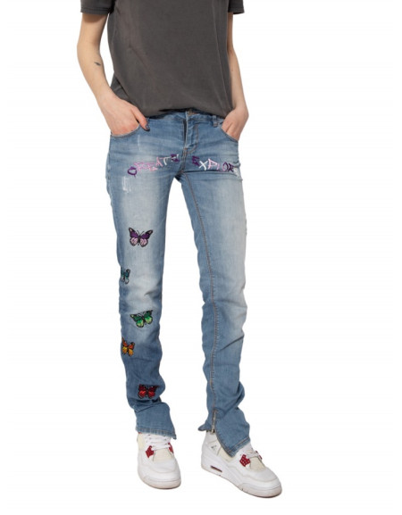 Custom Butterfly Embroidered Jeans
