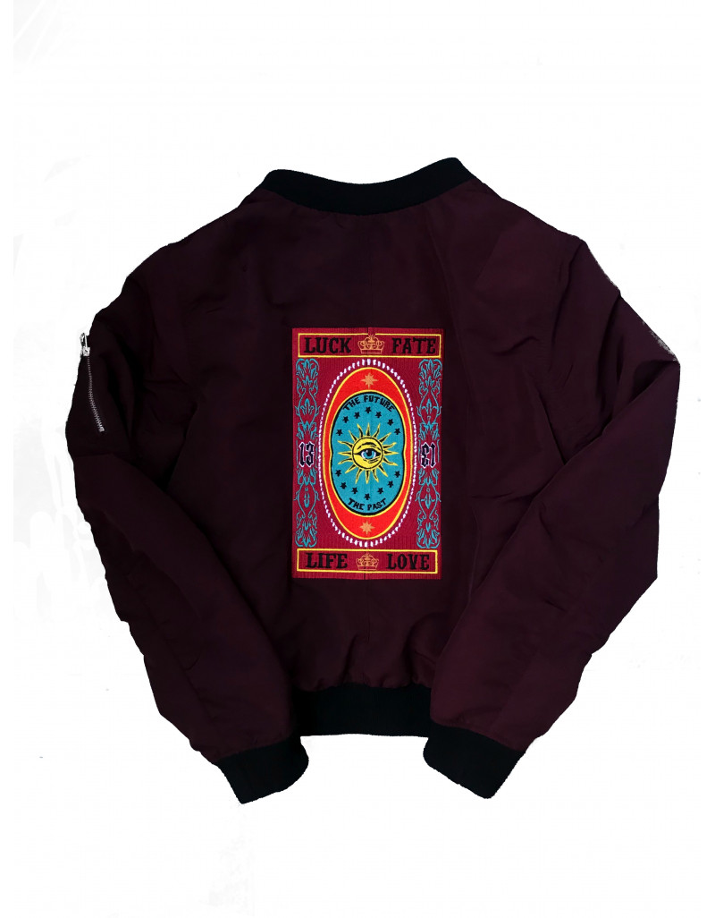 """""""Lucky 13"""" Embroidered Bomber Jacket"""