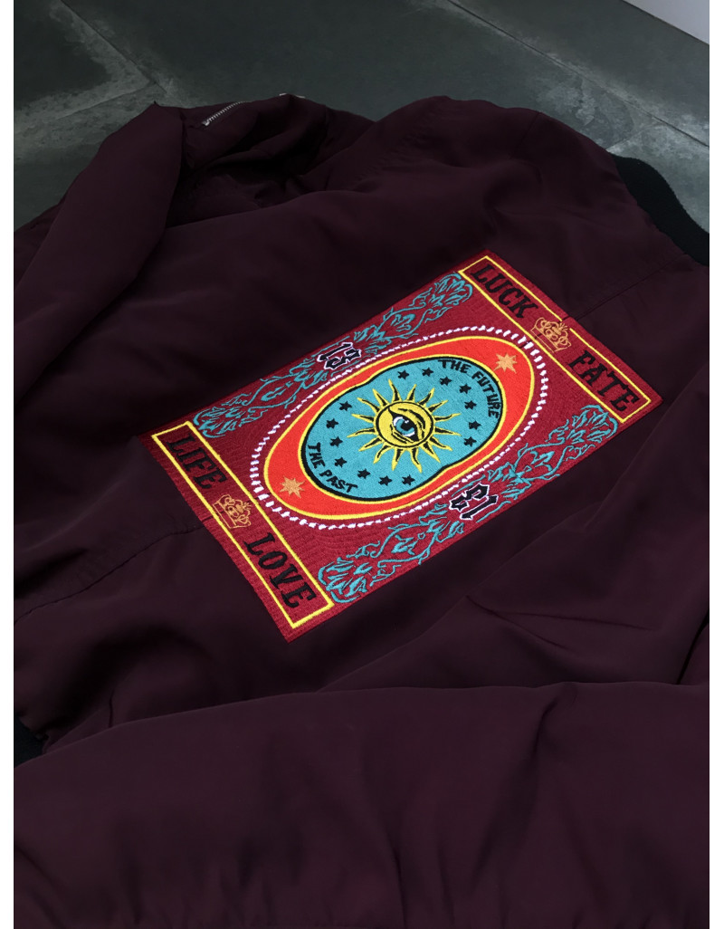 """Lucky 13"" Embroidered Bomber Jacket"